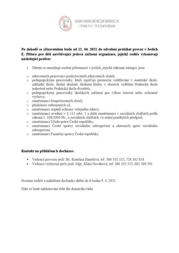 Otevření Jeslí 2021 Jaro - JAZ CB p.o.